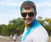 Happy Young Man On Holi Color Festival