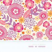 Warm summer plants frame horizontal torn seamless pattern background