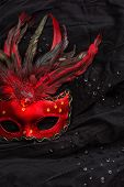 picture of venetian carnival  - Red venetian carnival mask with feather over black background - JPG
