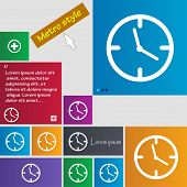 Clock Time Sign Icon. Mechanical Watch Symbol. Set Of Colourful Buttons. Vector