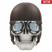 Human skull with retro aviator or biker helmet.