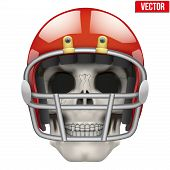 Human skull with american football player helmet.