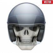 Human skull with motor biker helmet.