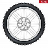 Motorbike enduro wheel with brake rotor and tire
