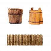 illustration of a wooden fencewith round edges, wooden bucket isolated on white background