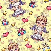 Vector seamless pattern with cartoon angels and gift boxes