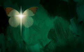 foto of glorious  - Abstract digital graphic composed of glowing Christian cross of Jesus - JPG