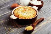 pic of millet  - Casserole with millet and curd on the wooden table - JPG