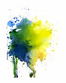 pic of rusty-spotted  - Spot yellow blue and green watercolor art hand paint isolated on white background - JPG