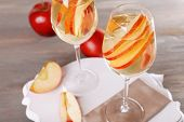 picture of cider apples  - Glasses of apple cider with fruits on table close up - JPG