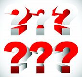 image of riddles  - 3D red question mark graphics for related concepts - JPG