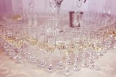image of catering  - catering services. glasses with wine in row background at restaurant party ** Note: Visible grain at 100%, best at smaller sizes - JPG