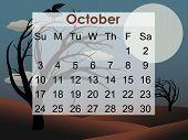 Creepy Tree October 2010 Calendar