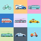 picture of trolley  - Urban city vehicles icon set - JPG