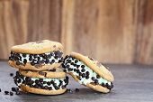 foto of mints  - Chocolate chip mint ice cream cookie sandwiches - JPG