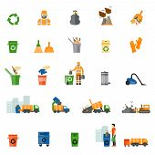 Постер, плакат: Garbage and trash flat icons set