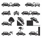 picture of accident emergency  - Car crash and accidents icon set - JPG