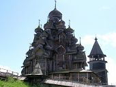 stock photo of church  - The Church of the Transfiguration is located in Kizhi pogost is the most remarkable part of it - JPG