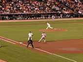 Giants Jonathan Sanchez  Throws Pitch With Diamondback Stephen Drew Taking Lead From 1St