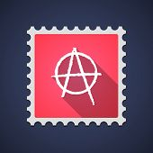 picture of anarchists  - Illustration of a red mail stamp icon with an anarchy sign - JPG