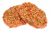 picture of pepper  - Raw uncooked peppered beef grill steaks isolated on a white background - JPG