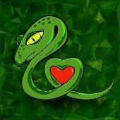 stock photo of green snake  - Snake and Heart  on Green Polygonal Background - JPG