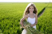 Little Girl Farmer On Rice Fields Green Outdoor Portrait