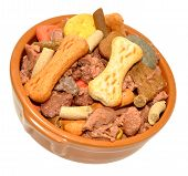 foto of ceramic bowl  - Ceramic dog bowl filled with dog meat and crunchy biscuit mix isolated on a white background - JPG