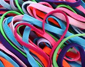 image of pink shoes  - Colorful shoe laces and heart shaped pink shoelace - JPG