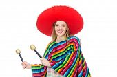 stock photo of maracas  - Pretty girl in mexican poncho shaking maracas isolated on white - JPG