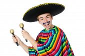 picture of maracas  - Funny young mexican shaking maracas isolated on white - JPG