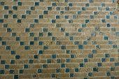 foto of mausoleum  - decorative brick work in the Oljeitu mausoleum in Soltaniyeh - JPG