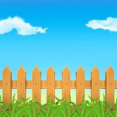 picture of ladybug  - Wooden fence with green grass - JPG