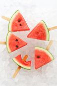 image of popsicle  - watermelon popsicle yummy fresh summer fruit sweet dessert ice background - JPG