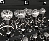 Постер, плакат: Microphones in a snack or vending machine to illustrate a talent or singing contest show or competi
