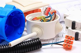picture of electrical engineering  - Components for use in installations and electrical diagrams copper wire connections in electrical box accessories for engineering work energy concept - JPG
