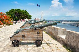 foto of cabana  - Old spanish cannons at La Cabana fortress in Havana - JPG