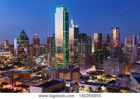 poster of Dallas City Skyline at dusk sunset. Dallas Texas downtown business center. Commercial zone in big city. Dallas City view from Reunion Tower.