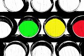 Green Yelow And Red Colored Barrels