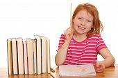 Redhaired Girl Doing Her Homework