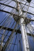 stock photo of yardarm  - Main mast Cutty Sark Greenwich London United Kingdom - JPG