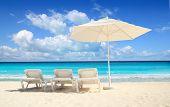 Caribbean Beach Parasol White Umbrella Hammocks