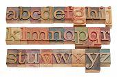 English Alphabet In Wood Letterpress Type