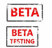 stamp that shows the term beta testing