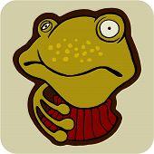 vector cartoon of winter frog