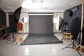 Professional Studio Interior With Black Background