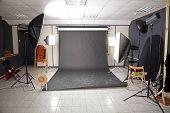 Professional Studio Interior With Black Background