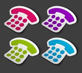 Vector telephone icon on sticker set. Transparent shadow easy replace background and edit colors.