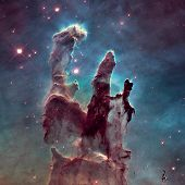 Pillars Of Creation. Eagle Nebula In The Constellation Serpens. poster