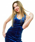pic of young girls  - The young beautiful girl in a dark blue dress on a white background - JPG